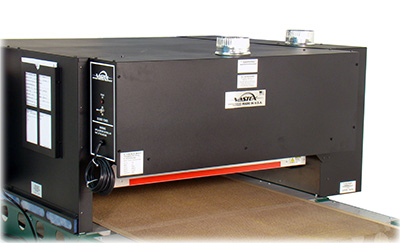 An exhaust hood and port on a Vastex screen printing dryer