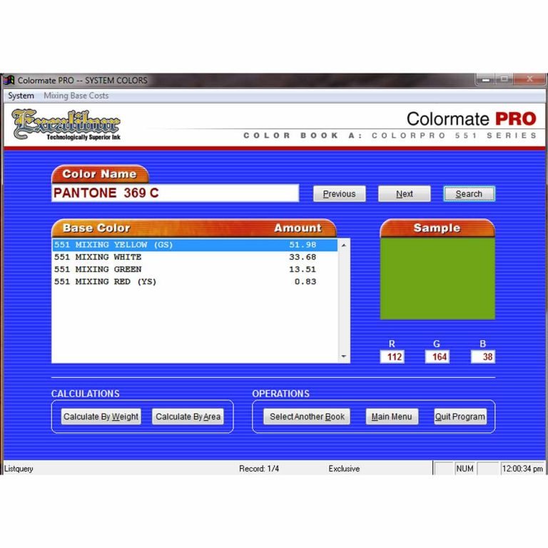 Lancer Colourmate Pro Ink Mixing Software